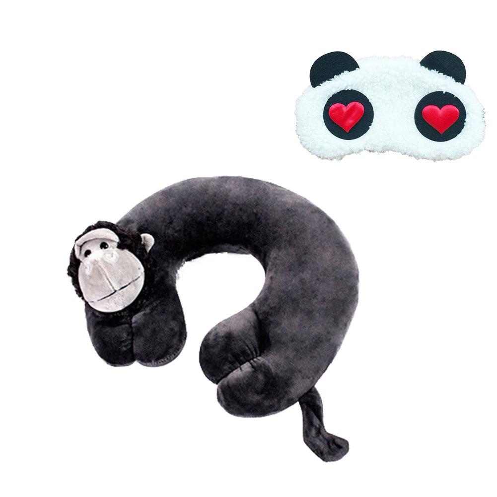 Funbase 3D Animal U Shaped Travel Pillow Neck Support Car Seat Cushion W/Panda Eye Mask(Many Styles)