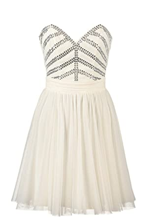 Lipsy Cream Bandeau Prom Dress with Sequin Bodice and Mesh Skirt (14)