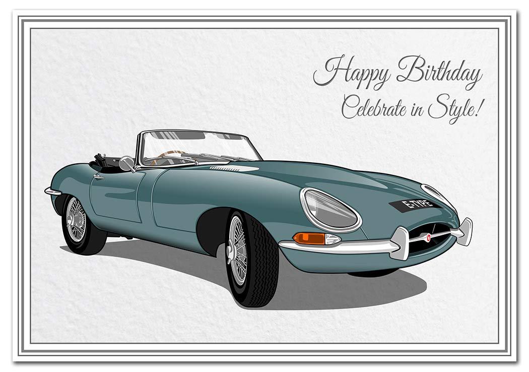 Classic Jaguar XK120 Car Unique Iconic Design Happy Birthday Card Keepsake