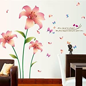 BIBITIME Green Stem Leaves Pink Lily Flower Vinyl Sticker Butterfly Quotes Wall Decals for Living Room TV Sofa Background PVC Decorations Couple Bedroom Decor Art Mural