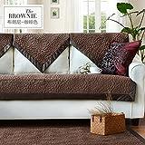 Plush solid color slipcover sofa,European Four seasons universal thick non-slip garden cloth sofa cushion cushion set towel-D 90x120cm(35x47inch)