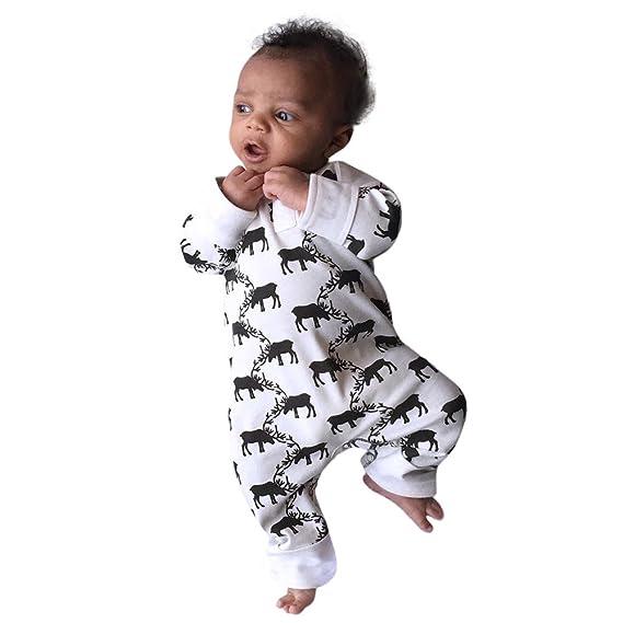ASHOP 2pcs navidad bebe recien nacido Chicas Chicos Ciervo peleles Jumpsuit Hat Outfit (Blanco,
