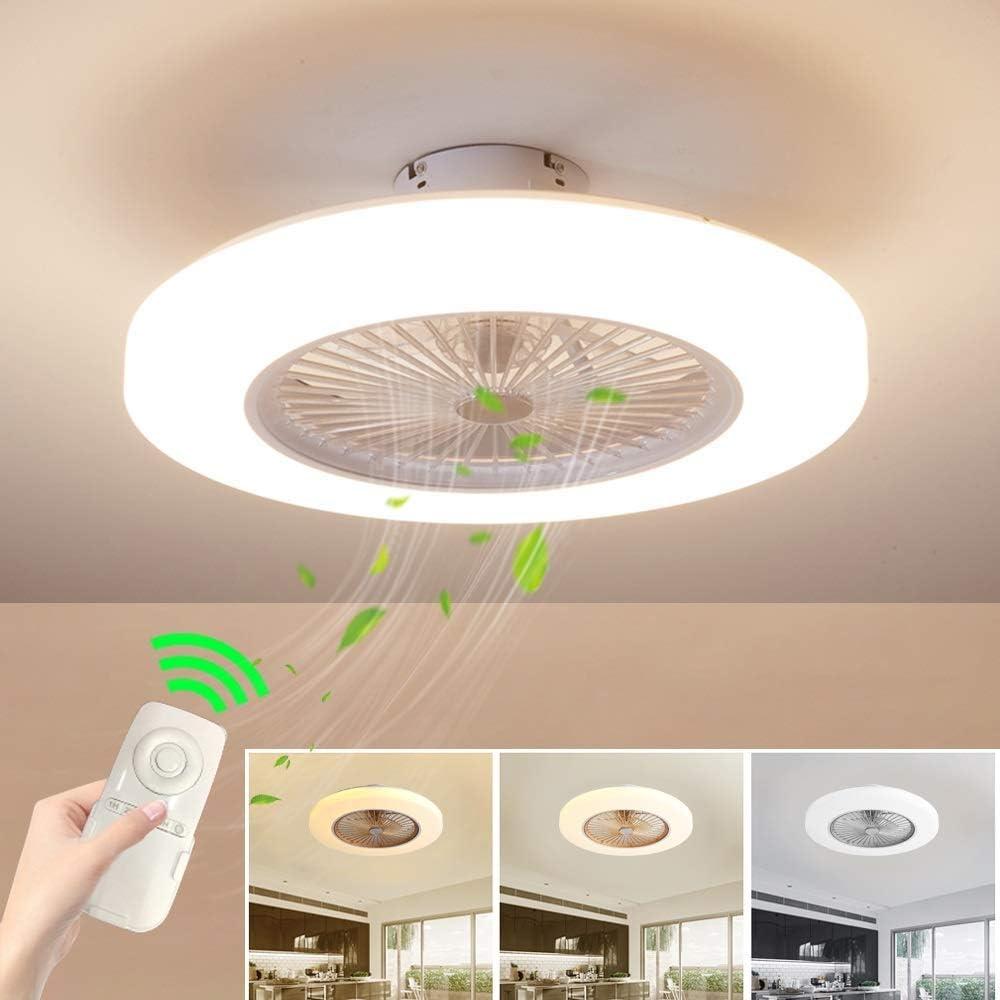 Ventilador de Techo con Lámpara, 36W Creativo Ventilador Invisible LED Lámpara de Techo Control Remoto Regulable Ultra Silencioso Lata Tiempo Ventilador Lámpara Φ58 * H20cm (Blanco)