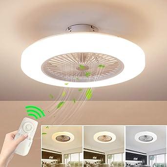 Deckenventilator mit Beleuchtung Dimmbar mit Fernbedienung Leise Moderne  LED Deckenlampe für WQohnung Schlafzimmer Wohnzimmer, Einstellbare ...