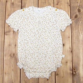 27b4f77b6999a 育児工房 赤ちゃんのカバーオール オーガニックボディスーツ(花柄) 80cm パープル系