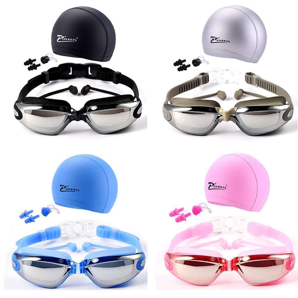 Black CHAELAKES Sports Big Deals Womens Mens Swimming Glasses Goggles UV Protection Non-Fogging Swim Cap Nose Clip