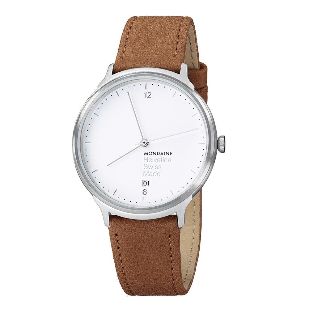 Mondaine Helvetica No1 Light 38mm MH1.L2210 Reloj de pulsera Cuarzo Unisex correa de Cuero Marrón