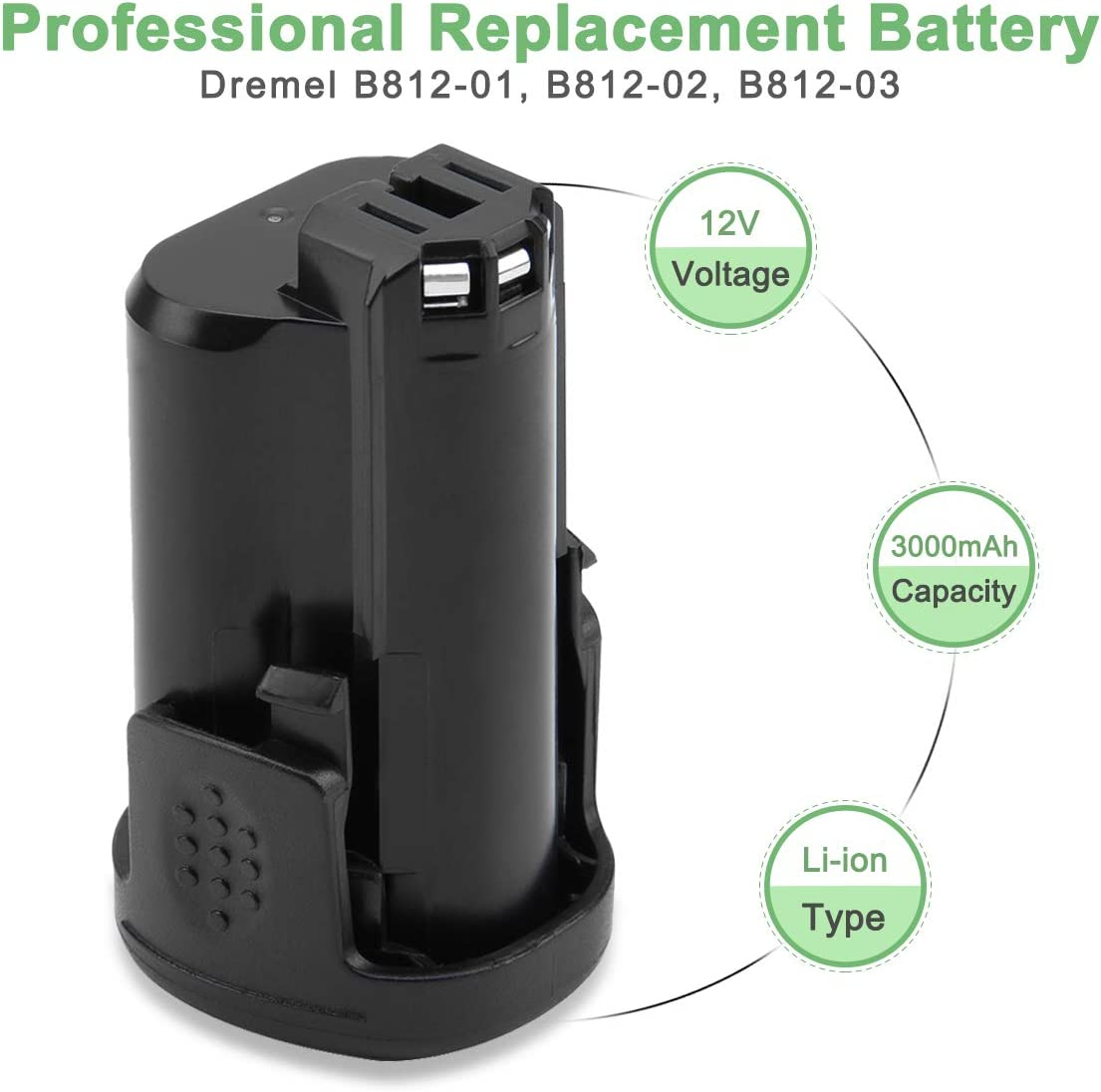 Shentec 12V 3000mAh Li-ion Batterie pour Dremel B812-03 compatible avec les outils sans fil Dremel 8200 8220 et 83