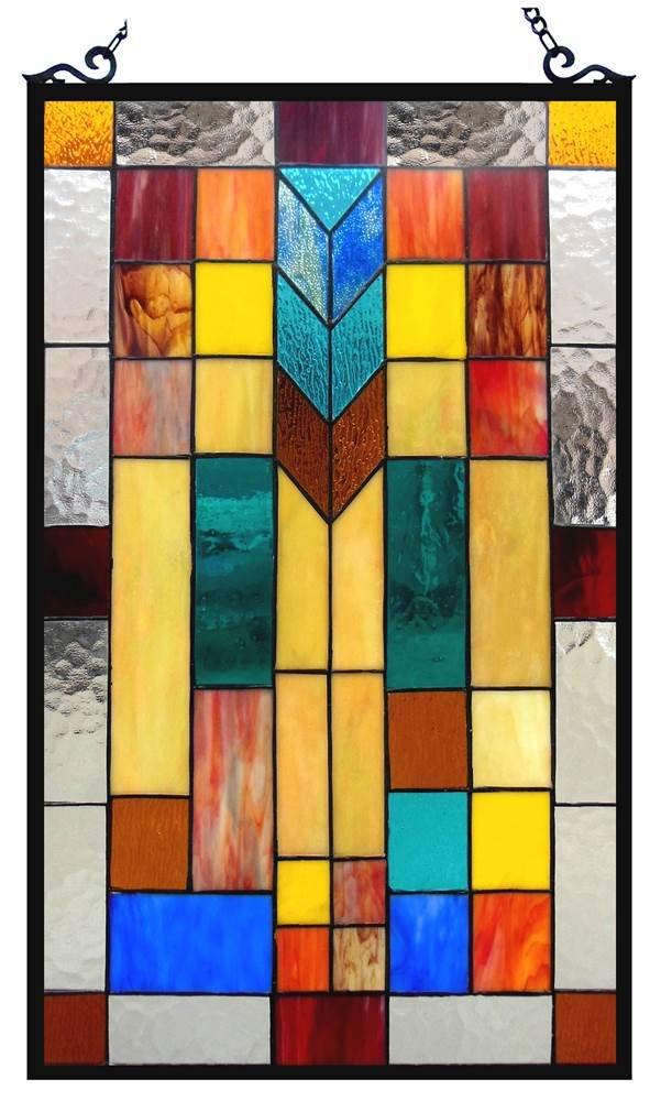 Chloe Lighting Tate Tiffany-Glass Mosaic Design Window Panel 16 x 26