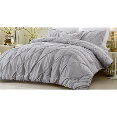 Web Linens Inc New - 4 Piece Pinch Pleat Comforter Set Gray Full/Queen 90 Inches x 96 Inches Fade Resistant All Season Hypoallergenic Super Soft Machine Washable Style 1054