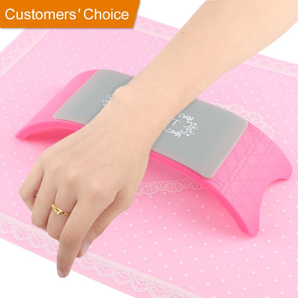 BLUETOP Hand Rest Plastic Silicone Nail Cushion Pillow Nail Art Design for Professional Manicurist and Home DIY - Pink Arm Rest