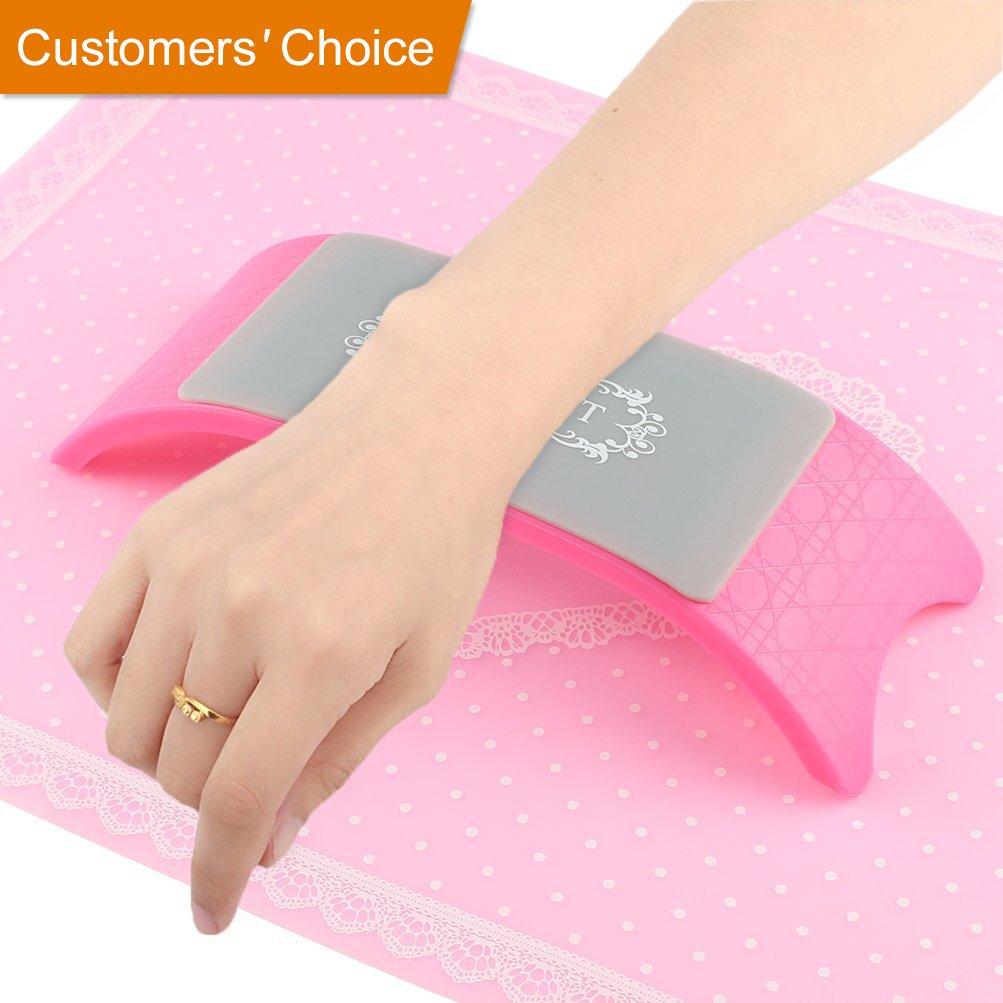 Manicure Table Mat Arm Wrist Hand Rest for Nails Plastic Silicone Desk Mat Nail Art Design Salon Cushion Pillow Holder Pink BLUETOP