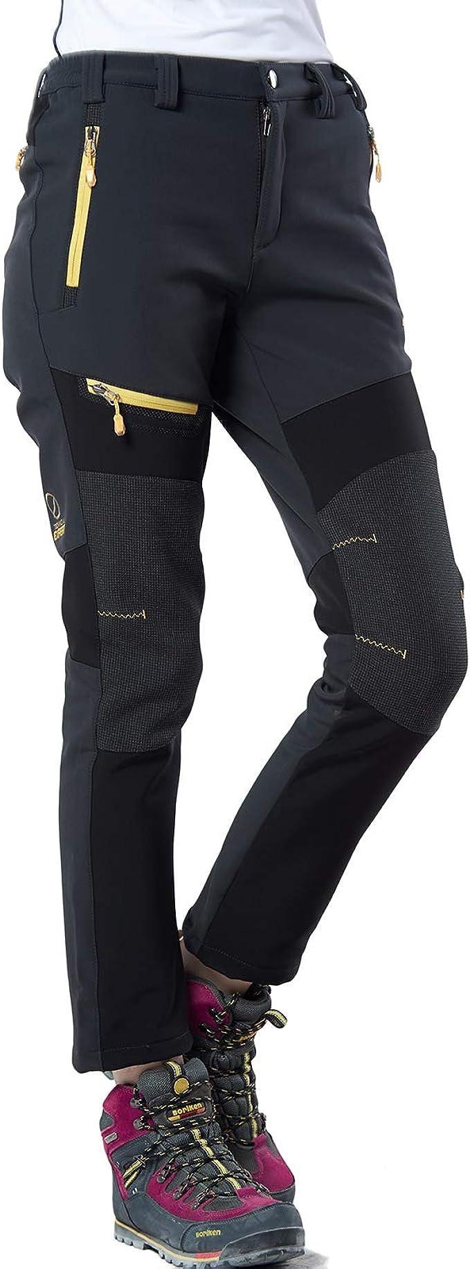 Pantaloni da Trekking da Donna da Esterno Pantaloni Invernali Foderati Traspirante Antivento Pantaloni da Montagna Elastici Trekking Allaperto con Cintura Caldo SANMIO Pantaloni da Donna