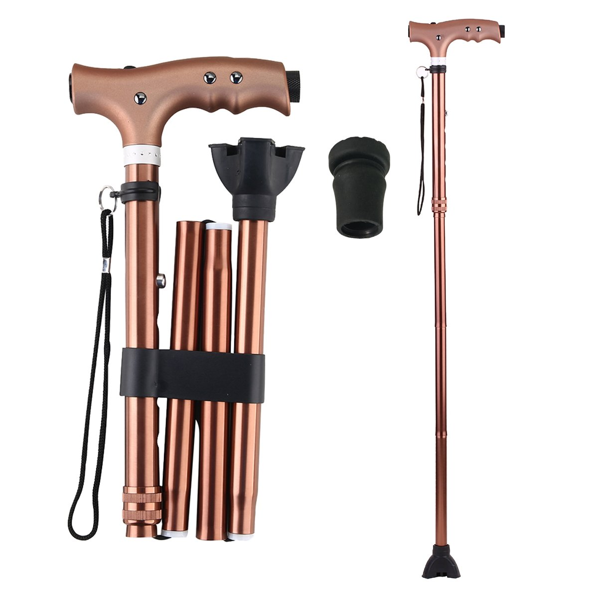 Folding Walking Cane with LED Flashlight, Ranger5 Anodized Aluminum Collapsible Adjustable Walking Stick with 1 Replacement Cane Tip