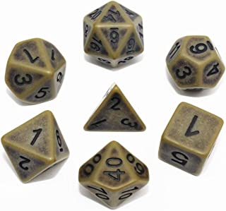 HD Dais DND Polyhedral Dice Set Ancient RPG Dice Set for Dungeons and Dragons(D&D) Pathfinder MTG Role Playing Games Table Game Dice 7-Die Set (Bronze)