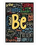 Lab No. 4 Be Happy, strong, brave Life Inspirational Quotes Collage Wall Decor Poster In A4 Size