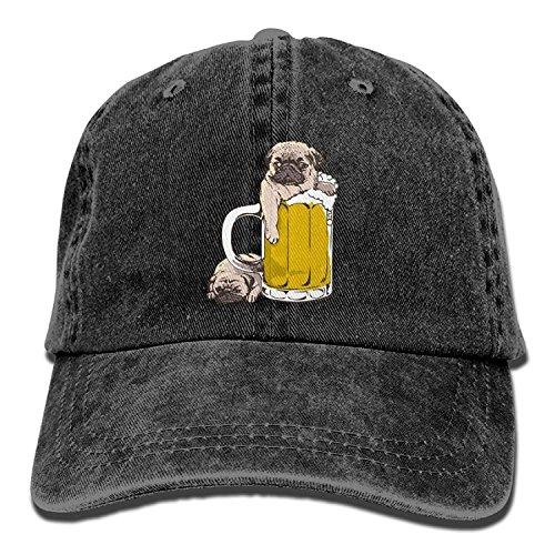 HU MOVR Cowboy Hat Pugs Like Beer Adjustable Cowboy Style Cap Unisex Adult