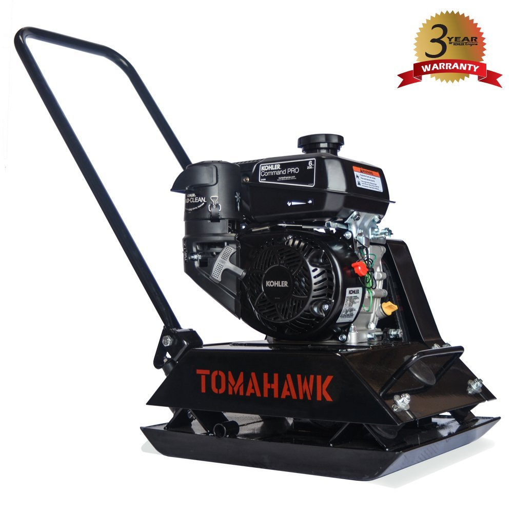 6 HP Kohler Engine Economic Plate Compactor Walk Behind Vibratory Dirt Soil Plate Compactor by Tomahawk Power
