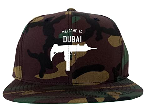 db7e136fc42 Welcome To Dubai Uzi Machine Gun City Army Camo Snapback Hat Green ...