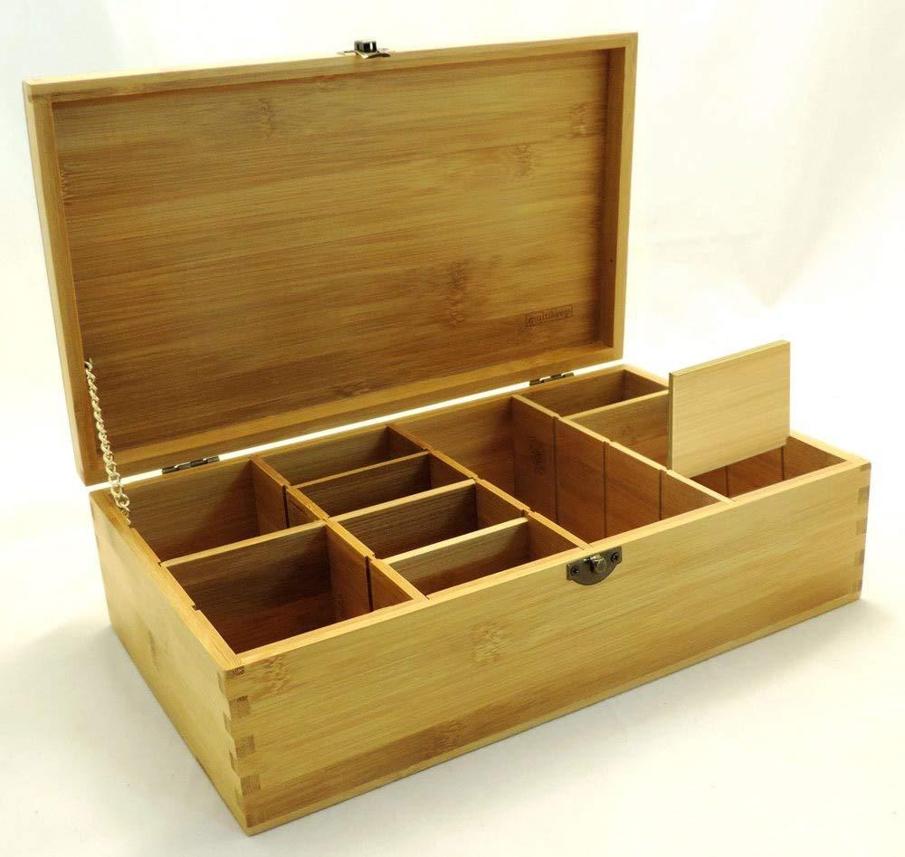 Cookbook People Multikeep Adjustable Tea Box 128 Tea Bag Storage Organizer Bamboo Latching Lid (Blank)