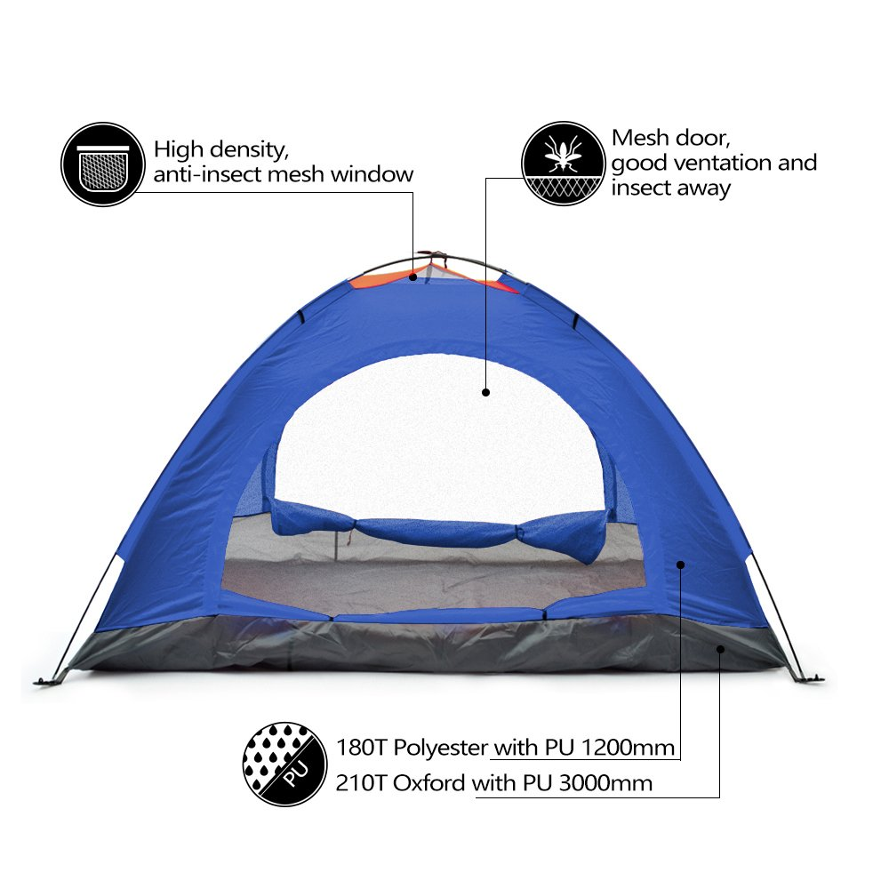Amazon.com  Odoland 2 Person 4 Seasons Portable Outdoor Folding Tent Waterproof 2 Doors Fiberglass for Outdoor C&ing Hiking Dome Tent Double- Person ...  sc 1 st  Amazon.com & Amazon.com : Odoland 2 Person 4 Seasons Portable Outdoor Folding ...