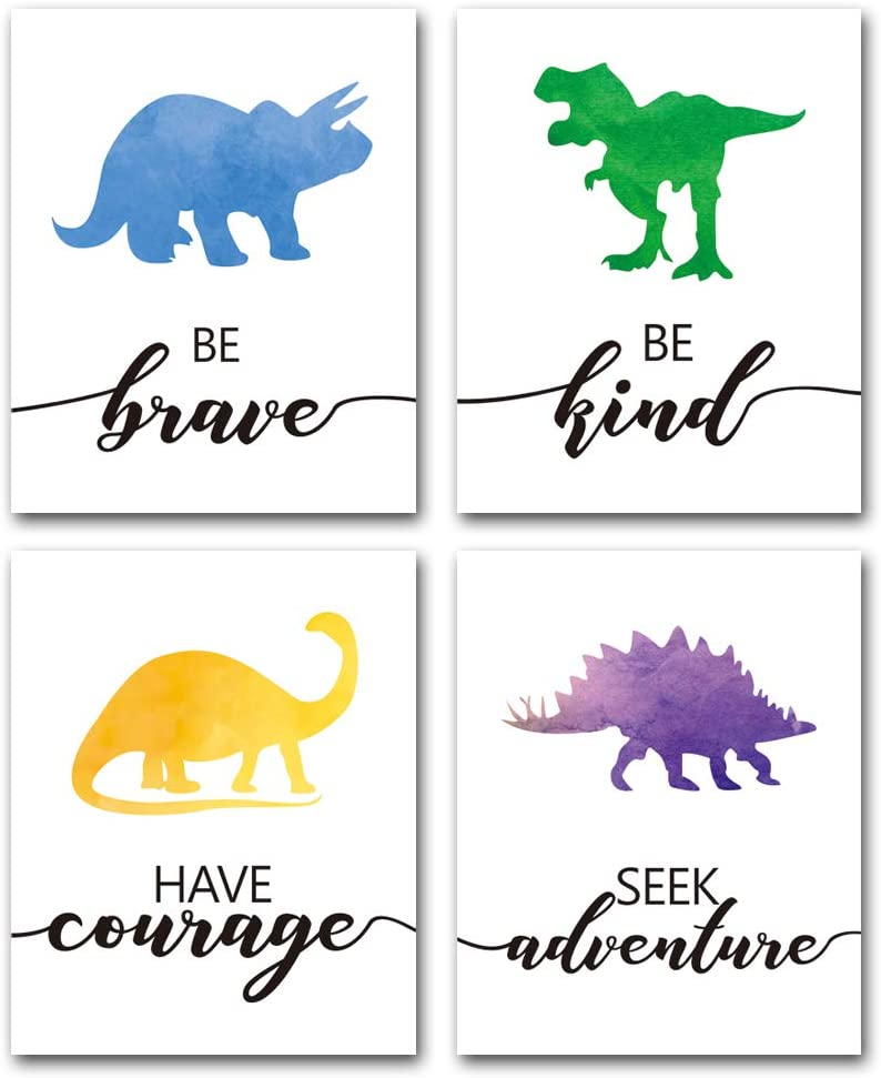 "XUN Watercolor Dinosaur Art Print- Animals Dinosaur Inspirational Quote Canvas Wall Art-(8""X10""X4 Pieces, Unframed)-Perfect for Nursery Bedroom Decoration"