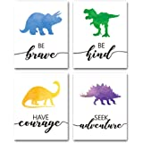 "Watercolor Dinosaur Art Print- Animals Dinosaur Inspirational Quote Canvas Wall Art-(8""X10""X4 pieces, Unframed)-Perfect for N"