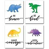 "Watercolor Dinosaur Art Print- Animals Dinosaur Inspirational Quote Canvas Wall Art-(8""X10""X4 pieces, Unframed)-Perfect…"