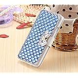 Galaxy S7 Silk Print Wallet Case-Superstart Samsung S7 3D Butterfly Big Rinestone Glitter Case with Credit Card Holder Kickst Function for Samsung Galaxy S7(Blue)
