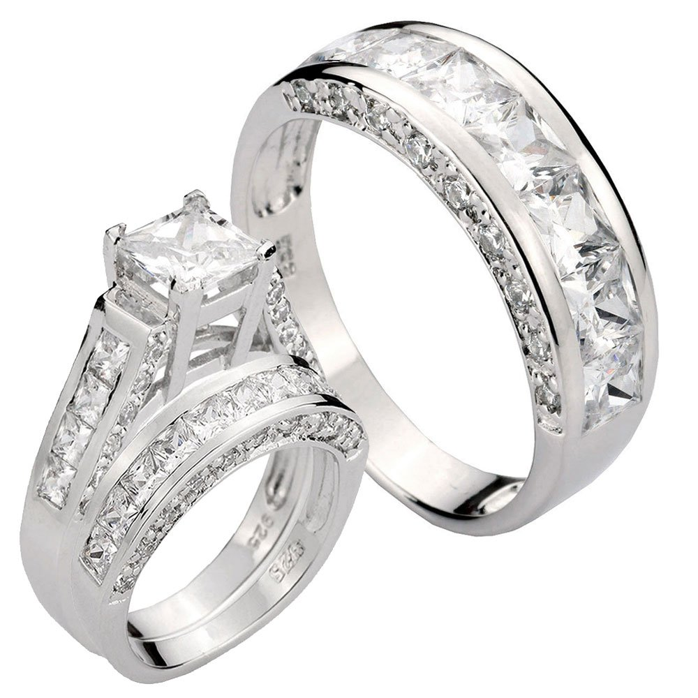 His and Hers 3 Pcs Princess Cut 3.8CT CZ Silver .925 Engagement Bridal Ring Set SZ 5-13 11 Janjewelry