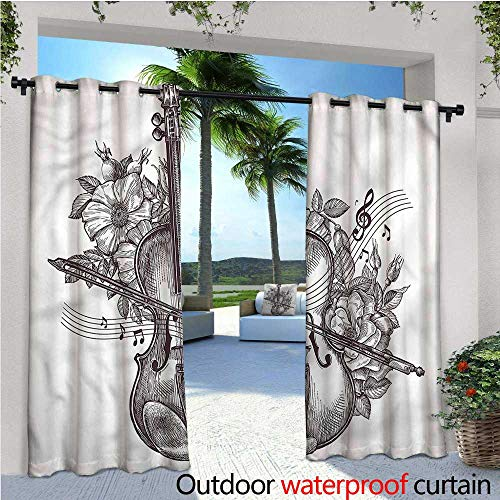 warmfamily Violin Indoor/Outdoor Single Panel Print Window Curtain Fiddle Playing Music Flowers Silver Grommet Top Drape W84 x L108