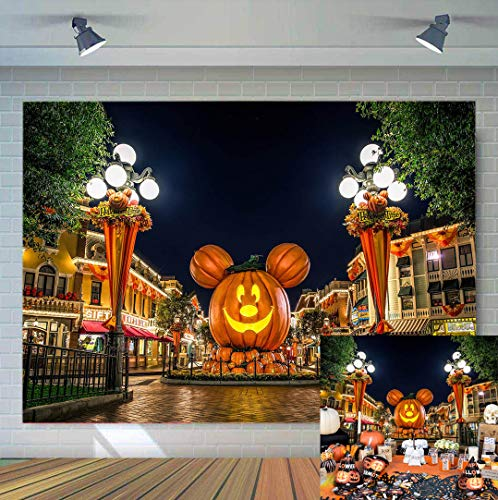 TJ Cartoon Pumpkin Head Halloween Photography Backdrop Baby Shower Halloween Nightmare Theme Party Decoration Photo Background Kids Studio Booth Props Banner Supplies 7x5ft ()