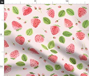 Spoonflower Fabric - Strawberry Field Watercolor Summer Fruits Strawberries Pink Farm Food Printed on Fleece Fabric by The Yard - Sewing Blankets Loungewear and No-Sew Projects