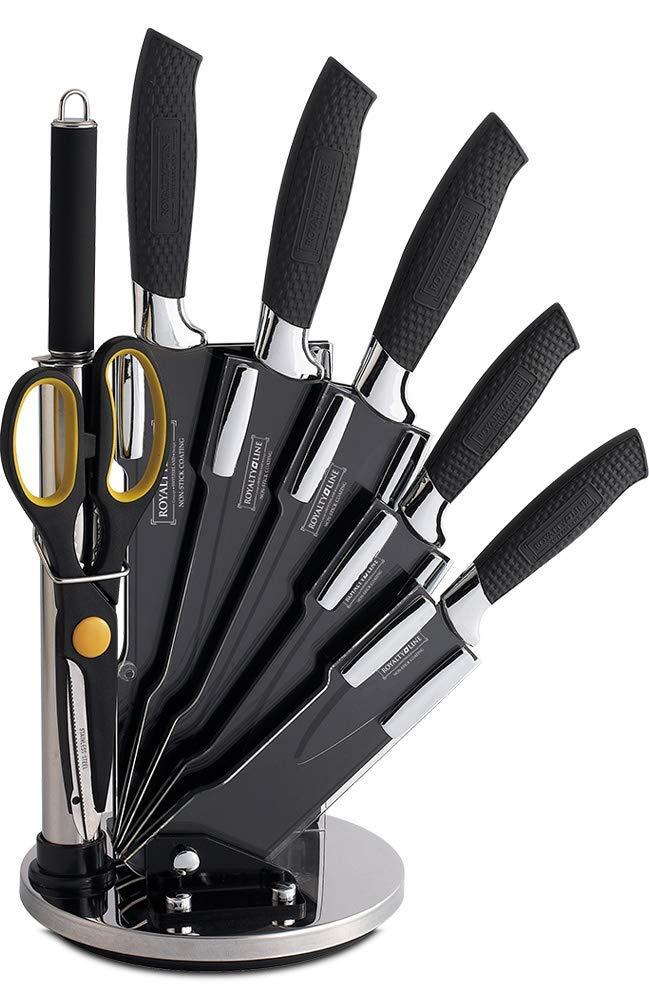 Royalty Line - RL-BLK8-W - Juego de Cuchillos de Cocina, 8 Piezas, de Antiadherente con Soporte, Negro