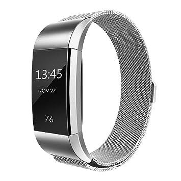 Correas de Reloj, ☀️Modaworld Reemplazo de Pulsera de Correa de Reloj de Acero Inoxidable milanés Muñequera Banda de Repuesto para Fitbit Charge 2 ...