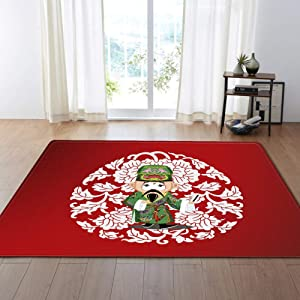 Non-Slip Carpet Chinese Classical Beijing Peking Opera Area Rugs for Indoor Floor Living Room Kitchen Bedroom Bathroom Red Rugs Healthy Carpets,C,78.7x118.1inch/6.5ftx9.8ft