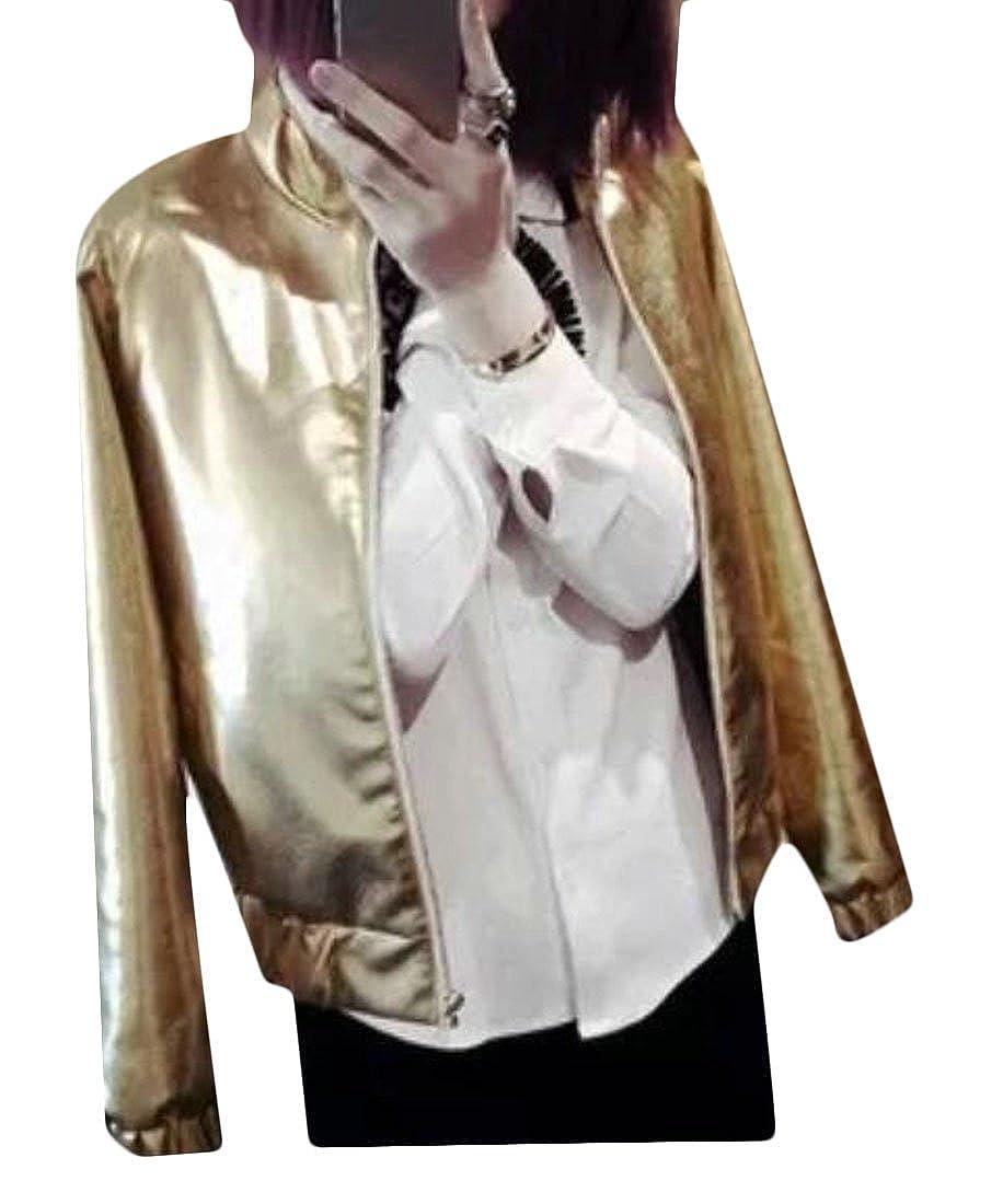 21a359adb3 Amazon.com: KLJR-Women Vogue Lightweight Faux Leather Motorcycle Coat  Bomber Jacket: Clothing