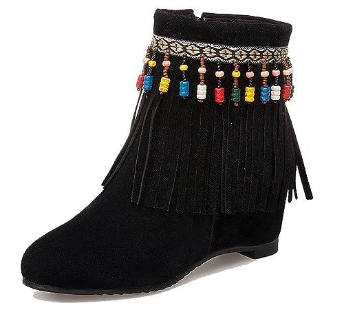 HiTime - Botas Mocasines de Ante Mujer, Color Negro, Talla 39 1/3: Amazon.es: Zapatos y complementos