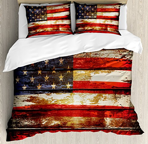 American Flag Duvet Cover Set King Size by Ambesonne, Us Symbolism over Old Rusty Tones Weathered Vintage Social Plank Artwork, Decorative 3 Piece Bedding Set with 2 Pillow Shams, Multicolor (Us Artwork Flag)