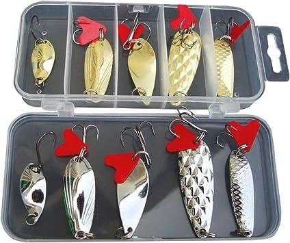 LIOOBO Señuelos para Peces de Metal Lentejuelas Spinner Cebo de Pesca Accesorios de Pesca con Caja de Almacenamiento: Amazon.es: Deportes y aire libre
