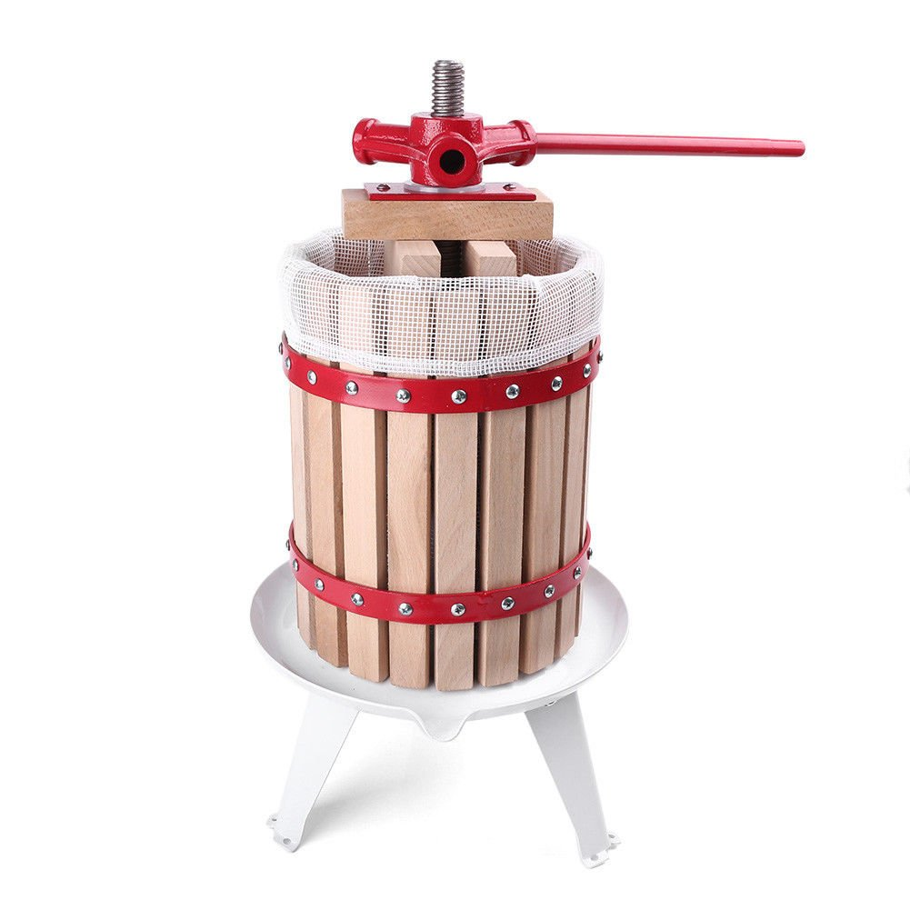 1.6 Gallon Press Wine Fruit Cider Crusher Juice Maker Apple Grape Tool Gallon Wood