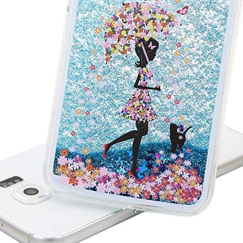 Funda para Galaxy S6, Caja de plástico transparente para Galaxy S6, Galaxy S6 Dual Layer Case Cover Skin Shell Carcasa Funda, Ukayfe Cubierta de la caja Funda protectora de plástico duro caso claro tr Blue Glitter-muchacha paraguas Support