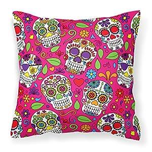 Caroline tesoros bb5115pw1818del día de los muertos rosa Tejido decorativo almohada, multicolor, 18hx18W
