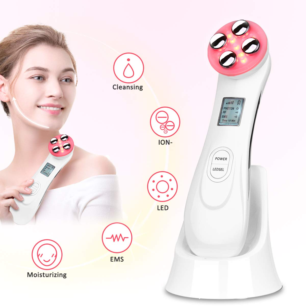 Skin Tightening Machine 5 in 1 Beauty Device EMS for Facial Lifting, Anti-Aging, Wrinkle Remover white