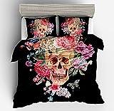 Wonderful Floral Rose Skull Cotton Microfiber 3pc 104''x90'' Bedding Quilt Duvet Cover Sets 2 Pillow Cases King Size