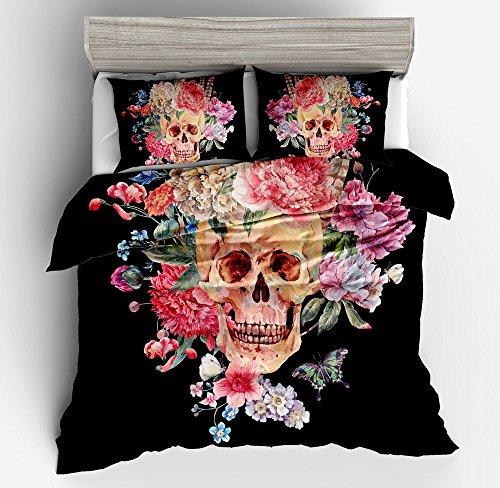 Wonderful Floral Rose Skull Cotton Microfiber 3pc 104''x90'' Bedding Quilt Duvet Cover Sets 2 Pillow Cases King Size by DIY Duvetcover