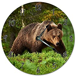 PotteLove 12 Vintage Forest Grizzly Bear Clock Wooden Decorative Round Wall Clock