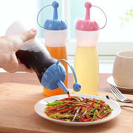 Botella de plástico para apretar, crema de cocina, jarra de agua, dispensador de