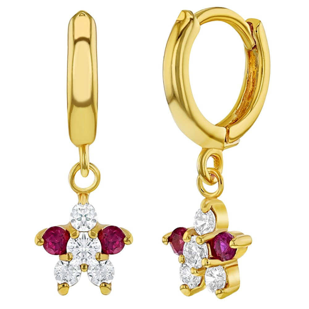 18k Gold Plated Pink Clear Cubic Zirconia Hoop Dangle Flower Girls Earrings In Season Jewelry 08-0011