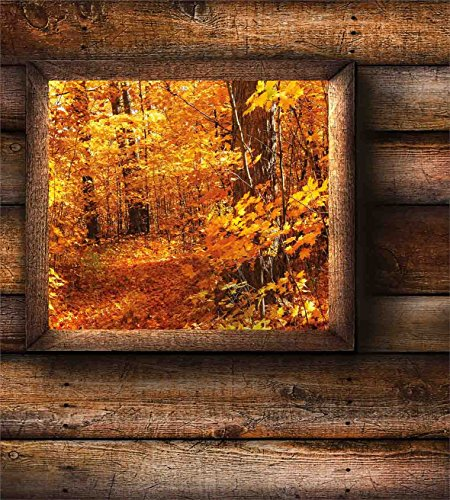 Ambesonne Fall Duvet Cover Set King Size, Fall Foliage View from Square Shaped Wooden Window inside Cottage Rustic Life Photo, Decorative 3 Piece Bedding Set with 2 Pillow Shams, Orange Brown by Ambesonne (Image #1)